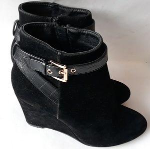 Shoes - Suede Ankle Buckle Wedge Booties